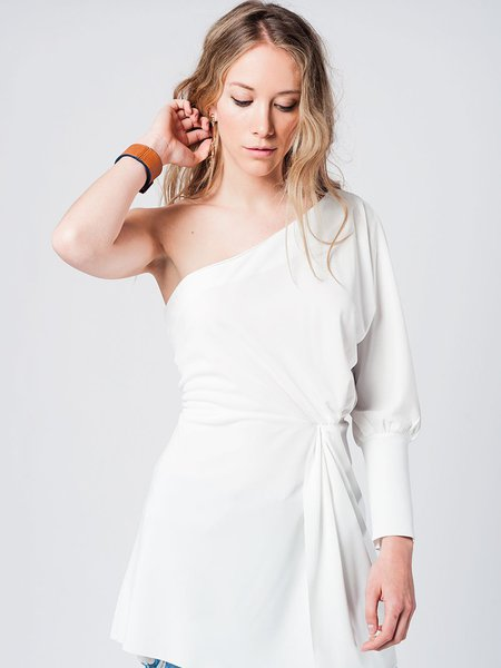 White One Shoulder Balloon Sleeve Sheath Solid Casual Tunic