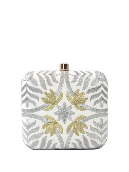 Mini Beige Evening Embroidered Push Lock Clutch