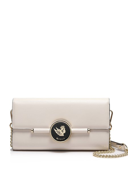Apricot Sweet  Fold-over Flat Top Crossbody Bag with Gold-tone Hardware