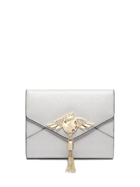 Mini Pearl White Fold-over Flat Top Tassel Sweet Wallet with Gold-tone Hardware