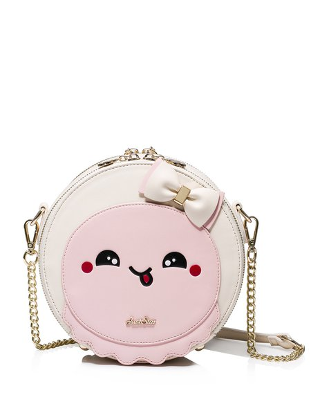 Pink-beige Zipper Sweet Printed Crossbody Bag with Bow