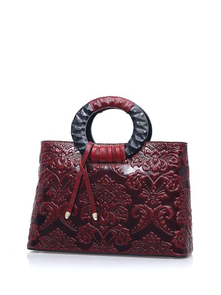 Solid Full-grain Leather Floral Printed Zipper Top Handle