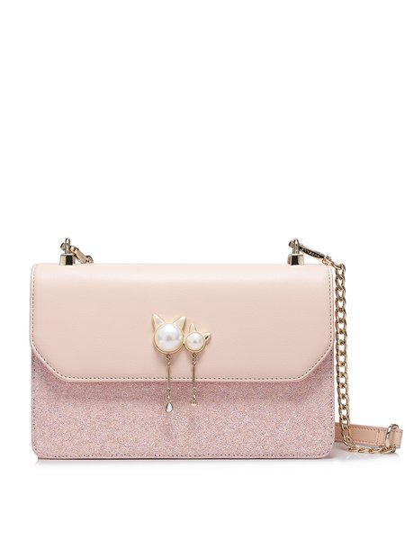 Pink Sweet Magnetic PU Crossbody Bag
