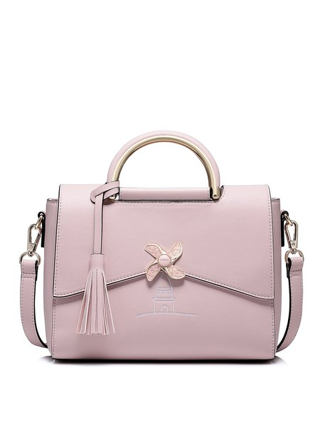 Pink Fold-over Flat Top Sweet Tassel Top Handle with Gold-tone Hardware