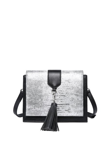 Casual Cowhide Leather Casual Fold-over Flat Top Tassel Crossbody Bag