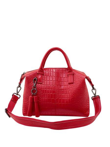 Solid Zipper Casual Shoulder Bag