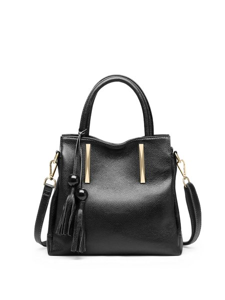 Solid Cowhide Leather Zipper Top Handle with Tassel
