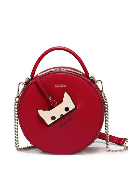 Red Zipper Sweet Cat Crossbody Bag with Gold-tone Hardware