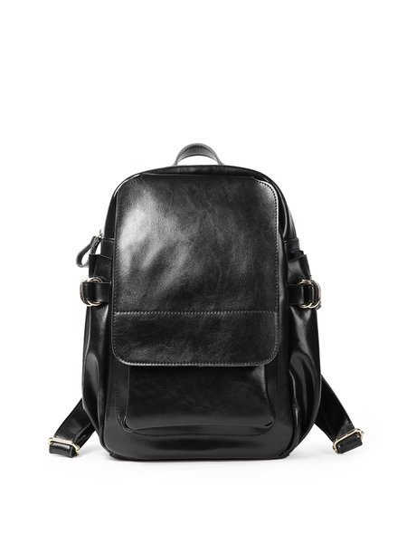 Large Solid Zipper Casual Cowhide Leather Backpack