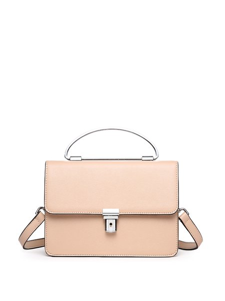 Casual Fold-over Flat Top Cowhide Leather Crossbody Bag