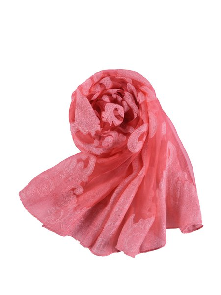 Red Floral Casual Gupure Scarf