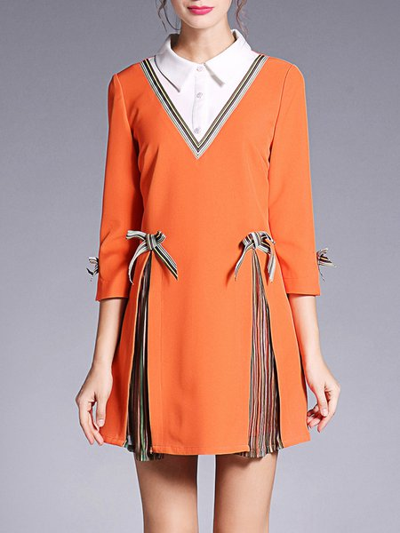 Color-block 3/4 Sleeve Casual Peter Pan Collar Stripes Mini Dress