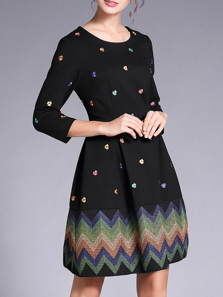 Sweet Floral Embroidered A-line Midi Dress