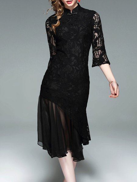 Black Asymmetrical Lace Cotton-blend 3/4 Sleeve Party Dress