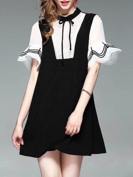 Black Girly Bell Sleeve Paneled A-line Mini Dress