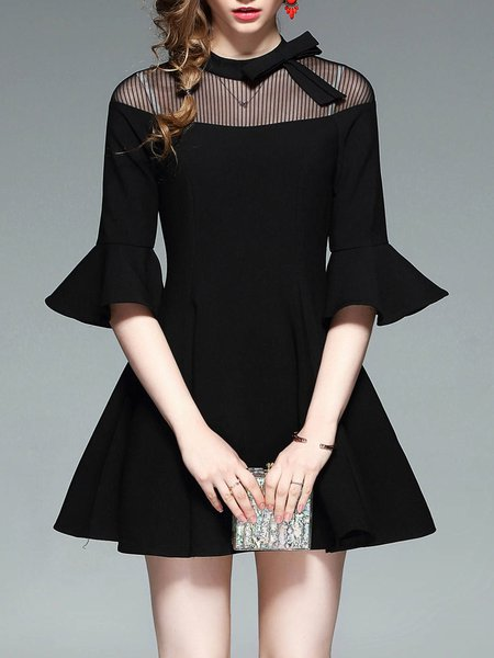 Black Ruffled A-line Bell Sleeve Mini Dress