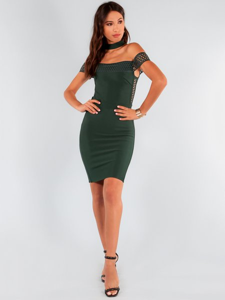 Hunter Green Off-shoulder Sleeveless Solid Party Dress - StyleWe.com
