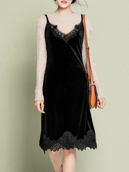 Black Casual Spaghetti Guipure lace Solid Midi Dress