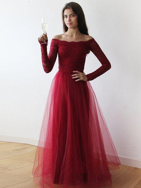 Off the shoulder long sleeve dress formal