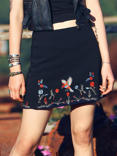 Black Floral Embroidered Casual Chiffon Mini Skirt