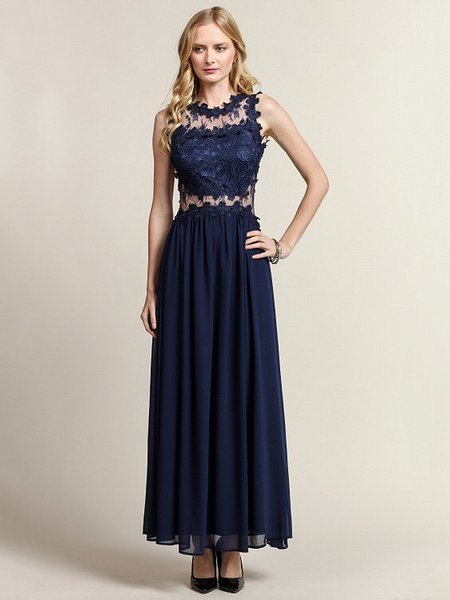 Navy Blue Crochet-trimmed Sleeveless Evening Dress