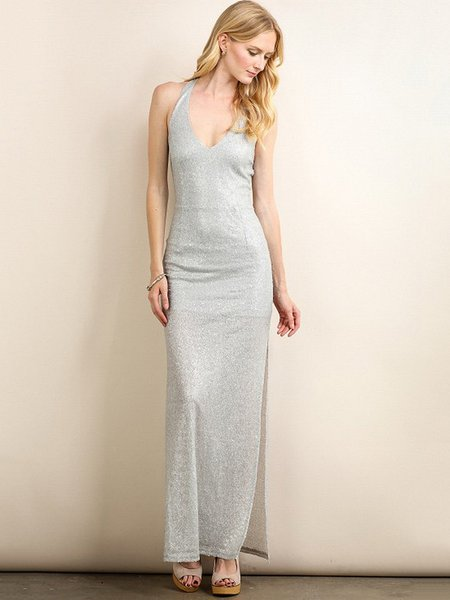 Silver Slit Halter Glitter-finished Sexy Evening Dress