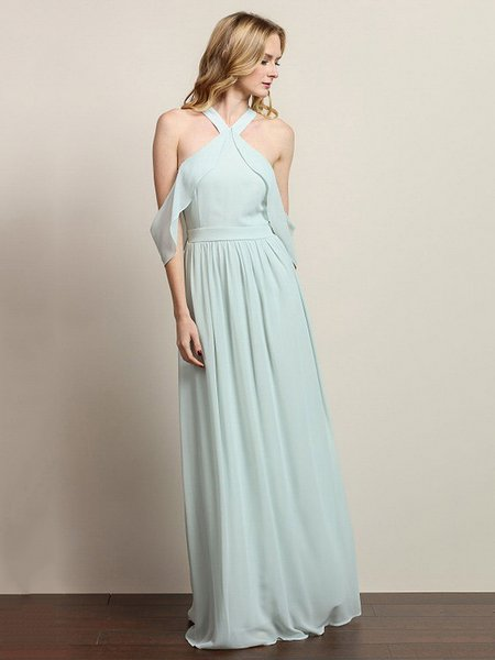 Light Green Cold Shoulder Elegant Ruffled Solid Evening Dress