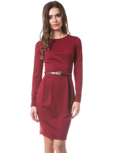 Burgundy Folds Elegant Jersey Work Dress with Belt
