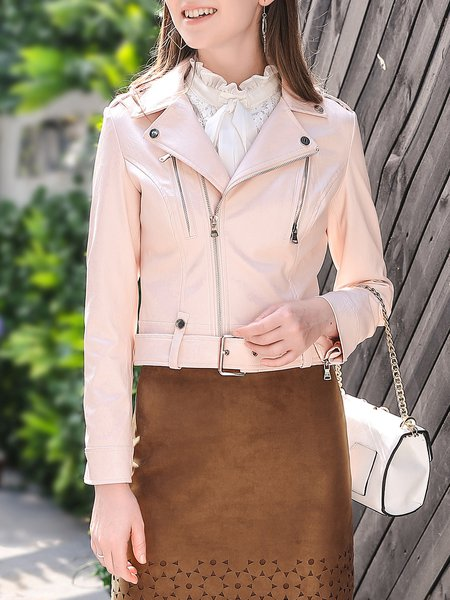 Faux Leather Casual Shawl Collar Long Sleeve Biker Jacket