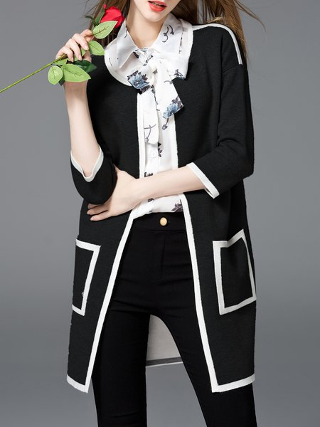 Black Binding Pockets 3/4 Sleeve Knitted Cardigan