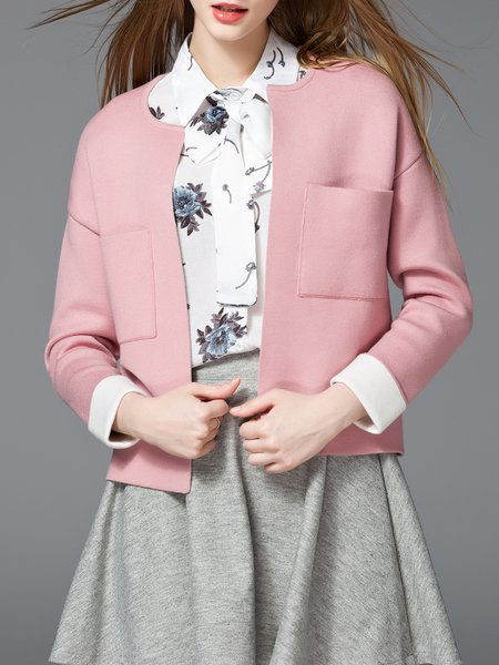Pink Pockets Knitted Crew Neck Long Sleeve Cardigan