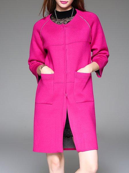 Fuchsia Buttoned H-line Pockets 3/4 Sleeve Cardigan