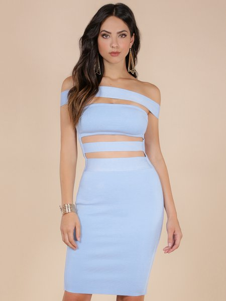 Light Blue Cutout Solid Sexy Bodycon Party Dress