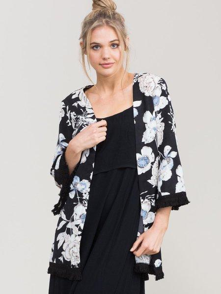 Black Floral-print Woven Fringed 3/4 Sleeve Kimono