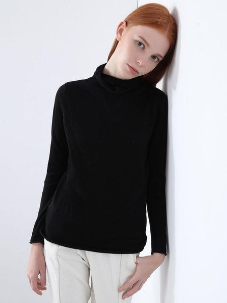 Black Knitted Turtleneck Solid Long Sleeve Sweater