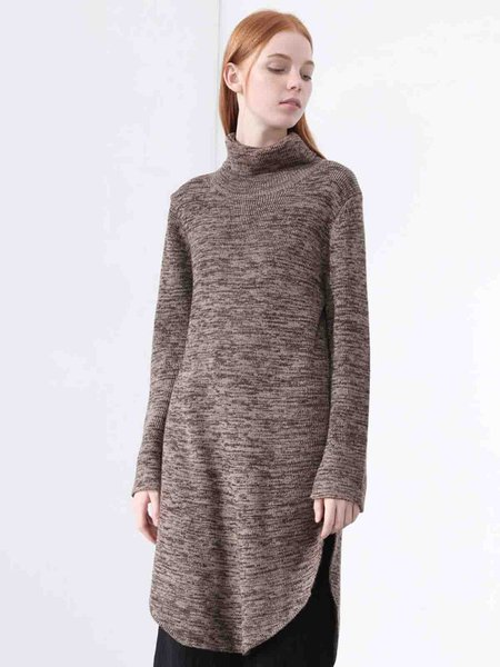 Khaki Knitted Solid Casual Asymmetrical Sweater Dress