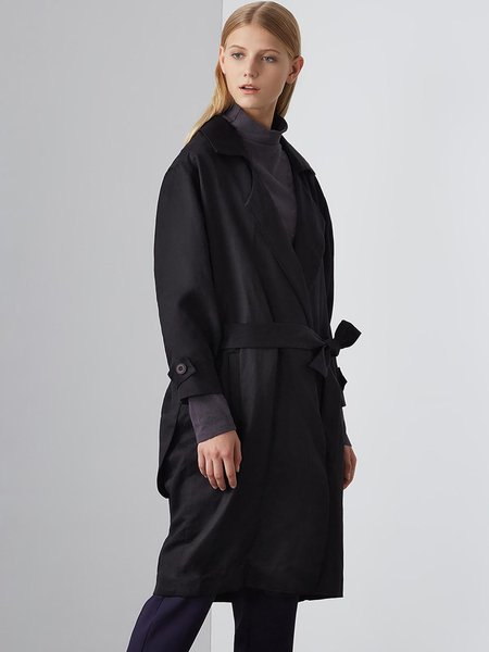 Long Sleeve Lapel Casual H-line Trench Coat with Belt