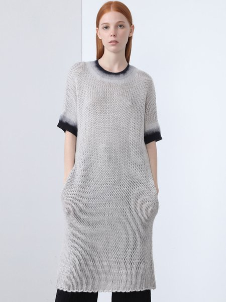 Crew Neck Ombre/Tie-Dye Casual Sweater Dress