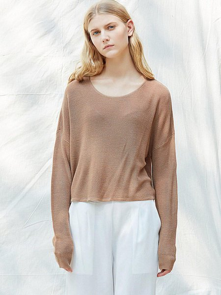 Plus Size Knitted Casual Long Sleeve Crew Neck Solid Top