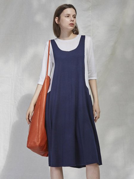 Navy Blue Color-block Half Sleeve A-line Midi Dress