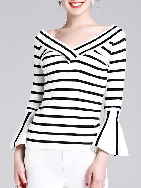 Off Shoulder Flared Sleeve Stripes Knitted Sweater