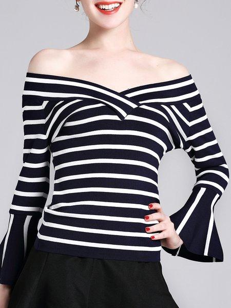 Navy Blue Off Shoulder Stripes Flared Sleeve Sweater