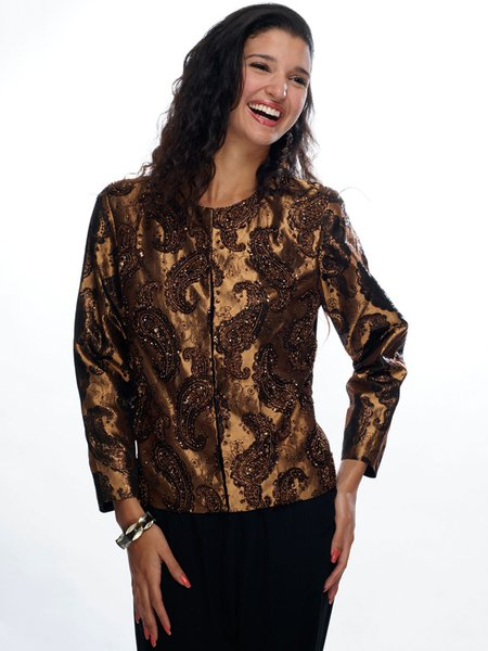Golden Paisley Elegant Embellished Brocade Jacket
