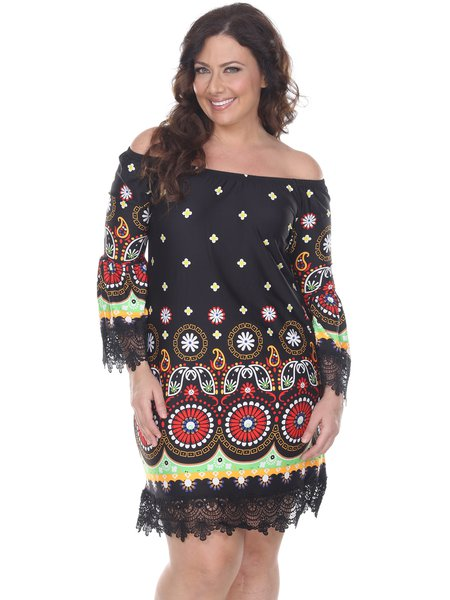 Black Bell Sleeve Boat Neck Floral Printed Plus Size Midi Dress