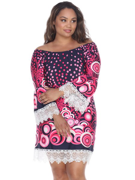 Navy-pink Bell Sleeve Boat Neck Polka Dots Plus Size Midi Dress ...