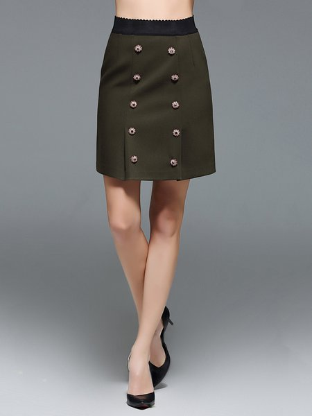 Double Breasted Solid Sheath Mini Skirt