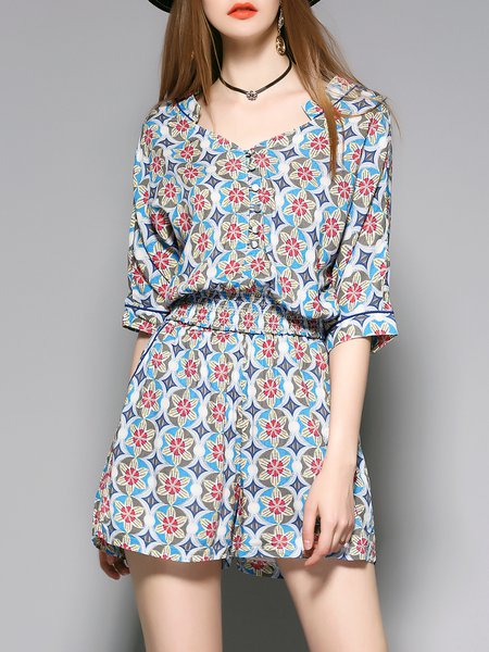 Floral 3/4 Sleeve Rayon Two Piece Casual Romper