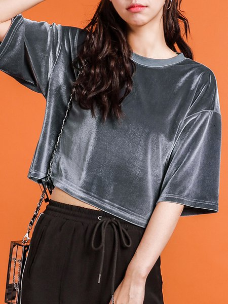 Velvet Crew Neck 3/4 Sleeve H-line Cropped Top