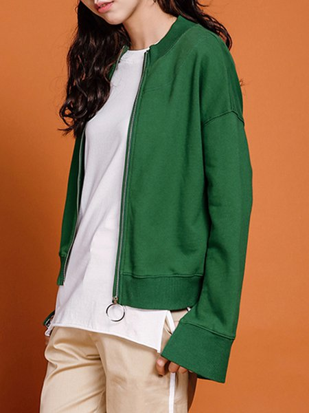 Green Long Sleeve Letter Embroidered Cropped Jacket