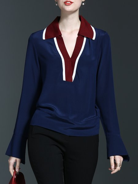 Shirt Collar Casual Long Sleeve H-line Color-block Blouse